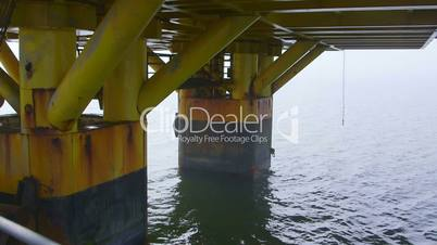 Piles of offshore gas and oil production platform