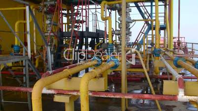 Offshore gas and oil production platform processing system