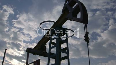 Oil well being produced by a pumpjack
