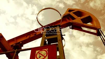 Pumpjack pumping oil from well
