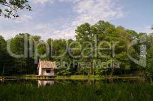 Vogelhaus, Teich, Entenhaus, Hütte, See, Weiher, Unterschlupf, Nachtruhe, Unterstand, Spreewald, Fliess, Kanal,