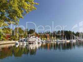 See, Seehaus, Hafen, Himmel, blau, Kanada, Vancouver, Herbst, Jahreszeit, grün, Indian Summer, spiegeln, ruhe, ruhig, still,
