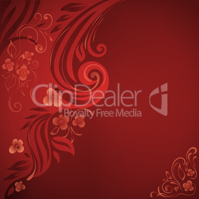 Abstract background with flowers and leaves