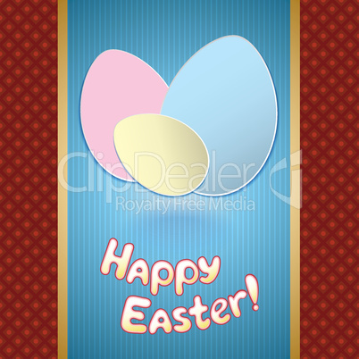 Easter card with eggs for greeting