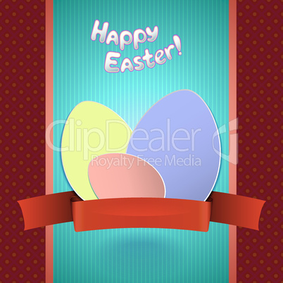 Easter retro card with  paper eggs and ribbon for greeting