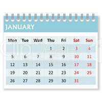 calendar sheet for january