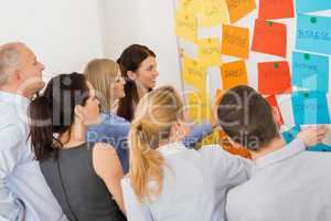 colleagues brainstorming in front of whiteboard