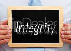 integrity - businessman with chalkboard