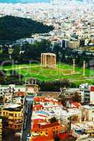 Temple of Olympian Zeus aerial view in Athens