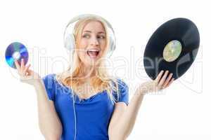 Mädchen mit Schallplatte und CD