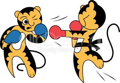 Vector cartoon two tiger cub cute young martial arts