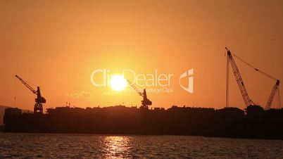 clean sunset time lapse, tracking shot