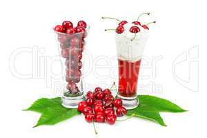 composition of berries and black cherry juice for whipped cream