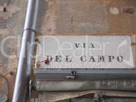 Via del Campo street sign in Genoa