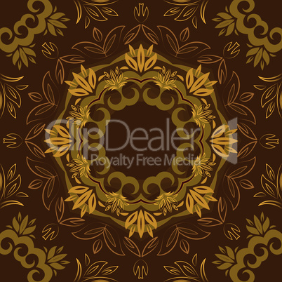 Abstract brown floral background with round vector pattern