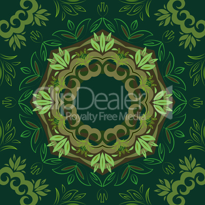 Abstract green floral background with round vector pattern