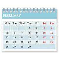 calendar sheet for february