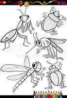 cartoon insects set for coloring book
