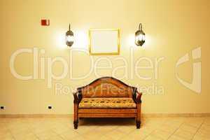 Lobby interior of the luxury hotel in night illumination, Sharm