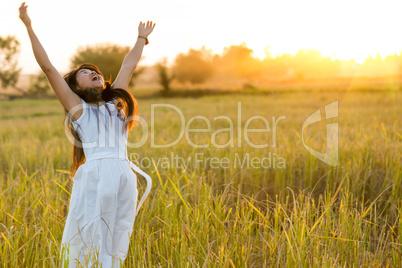 joyful woman in a field