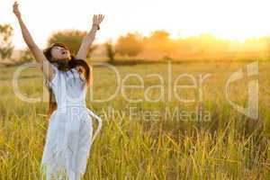 joyful woman in a field