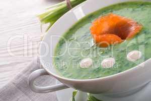 bear allium soup with smoking salmon