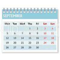 calendar sheet for september
