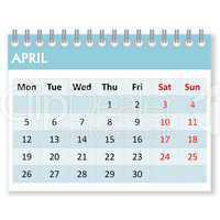calendar sheet for april