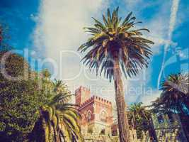 Retro look Albertis Castle in Genoa Italy