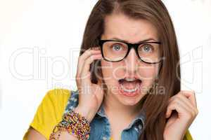 girl in braces wearing geek glasses isolated