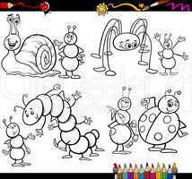 funny insects set for coloring book