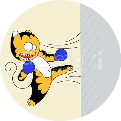 Vector cartoon cute young tiger of martial arts beats a wall