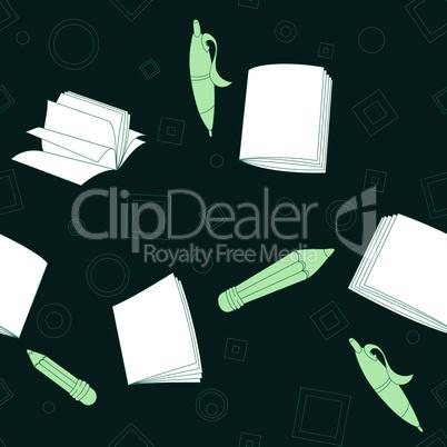 School notes seamless pattern on dark green background