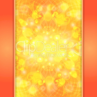 Elegant orange ornate background with lace ornament and boke