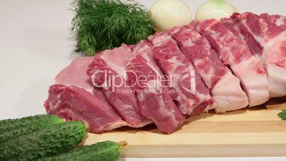 Dolly: Sliced fresh pork meat and vegetables