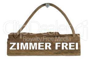 Isoliertes Holzbrett mit Seil zum Aufhängen: Zimmer frei