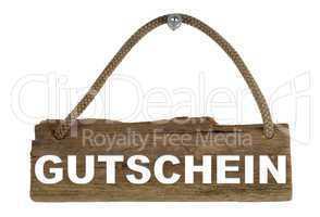 Isoliertes Holzbrett mit Seil zum Aufhängen: Gutschein