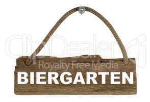 Isoliertes Holzbrett mit Seil zum Aufhängen: Biergarten