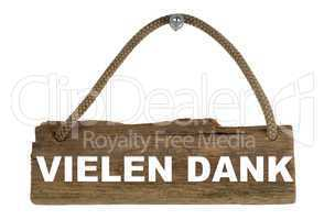 Isoliertes Holzbrett mit Seil zum Aufhängen: Vielen Dank