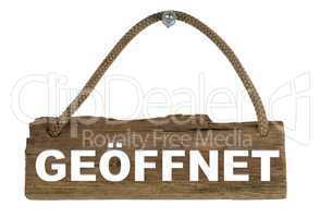 Isoliertes Holzbrett mit Seil zum Aufhängen: Offen