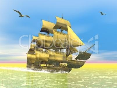 Golden old merchant ship - 3D render
