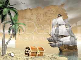 Pirate ship finding treasure - 3D render