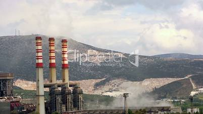 time lapse power plant smoke and air pollution