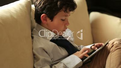 smart kid with digital tablet