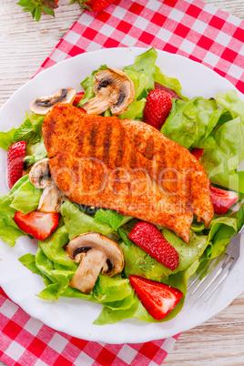 steak with green salad