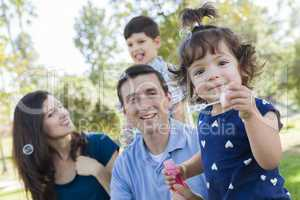 Cute Young Baby Girl Blowing Bubbles with Family in Park
