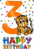 third birthday cartoon design