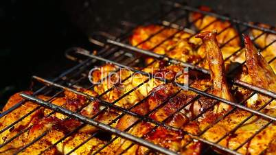 barbecue. chicken on the grill.