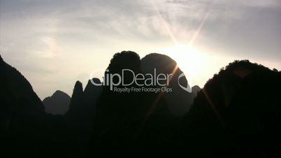 Yangshuo valley and its hilly landscape at the sunrise