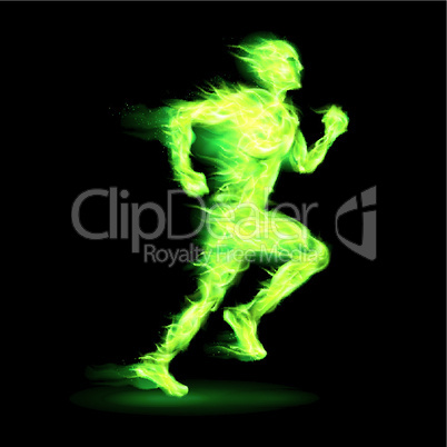 Green fiery running man